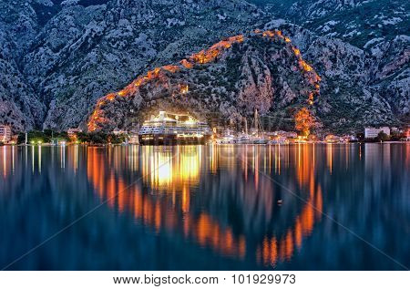 Kotor waterfront by night, Montenegro