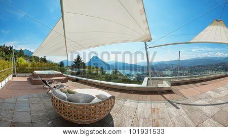 modern penthouse, beautiful panorama from a terrace, lake view