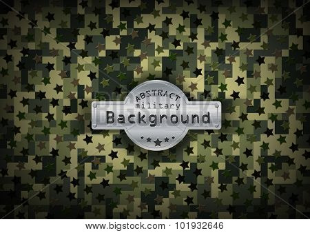 Camouflage military pixel art pattern with stars background. Vector illustration, EPS10