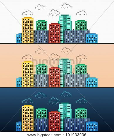 Stylized modern design urban panoramas at different times of day