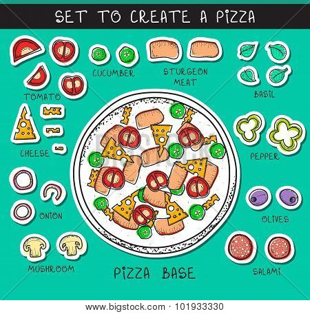 Template doodle set ingredient to build pizza. Sticker object