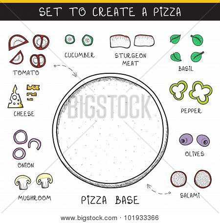 Template doodle set ingredient to build pizza. Sliced vegetables