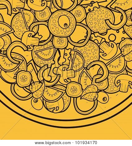 Template background with pizza doodle designs for posters, menus