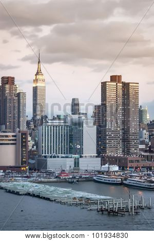 Manhattan Skyscrapers At Hudson River Dock