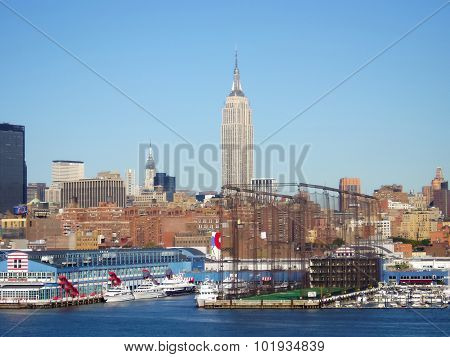Empire State Building And Hudson River Dock