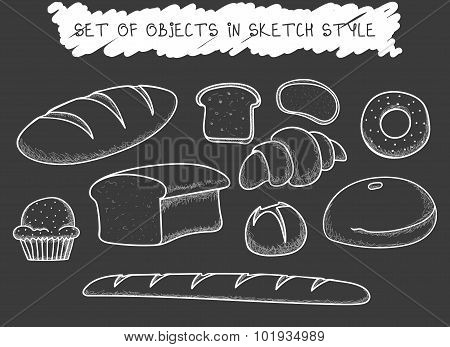 Set 10 bread baking doodle drawn in chalk. Sketch Baguette