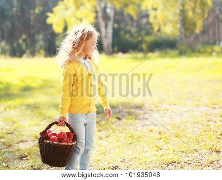 Little Girl Child And Basket With Apple In Autumn Day