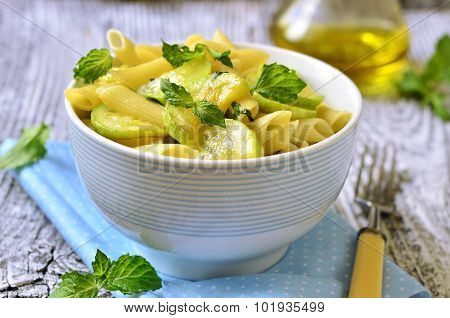 Penne With Zucchini And Mint.