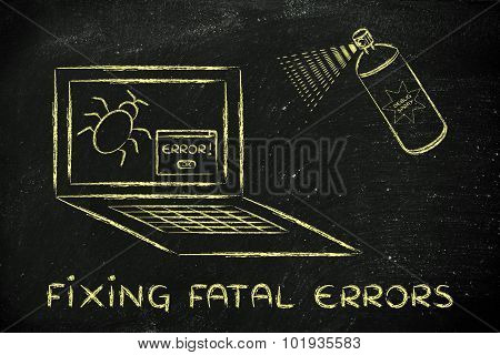 Funny Spray Against Computer Bugs, Fixing Fatal Errors