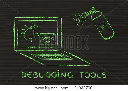 Funny Spray Against Computer Bugs, Debuggers