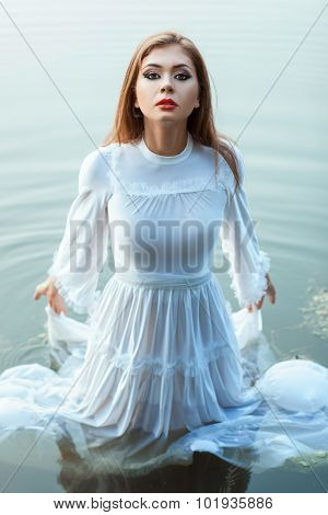Girl In The White Dress  Bride Standing  Water.