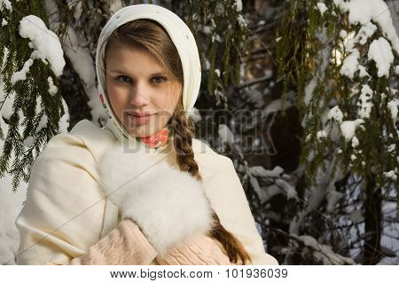 Russian Beautiful Girl In The Winter Forest