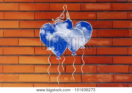 Person Sitting On Balloons (with Sky Fill), Metaphor Of Feeling Uplifted And Supported