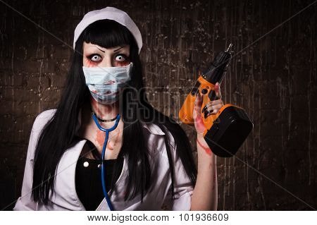 Crazy Dead Nurse With Drill In The Hand