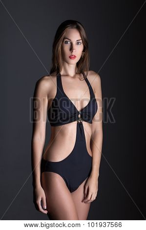Fashionable Woman In Swimsuit At Night