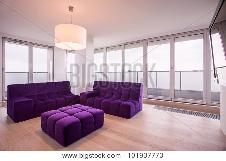 Violet Lounge In Living Room