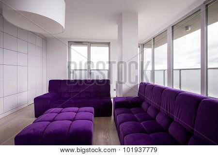 Violet Quilted Sofa