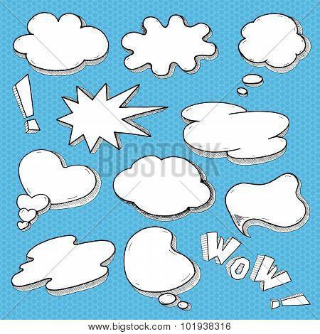 Speech Bubble Comic Style Set, Hand Drawn Sketch Thought Cloud Vector For Your Design