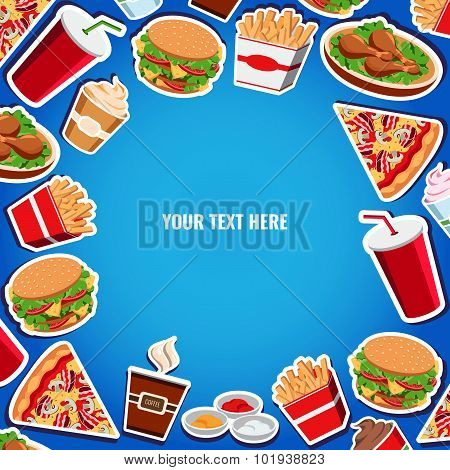 Vector Fast Food Background Flat Style For Design, Banner, Menu, Card.