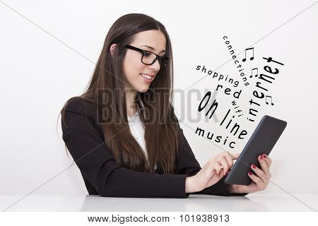 woman with the tablet