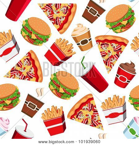 Seamless Fast Food Pattern, Vector Fast Food Background For Web Design, Packing, Fabric, Textile.