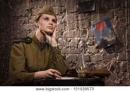 Soviet Female Soldier In Uniform Of World War Ii Dreams