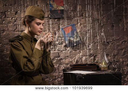 Soviet Female Soldier In Uniform Of Wwii In The Dugout