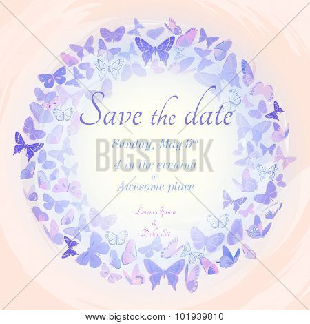 Wreath of butterflies invitation template