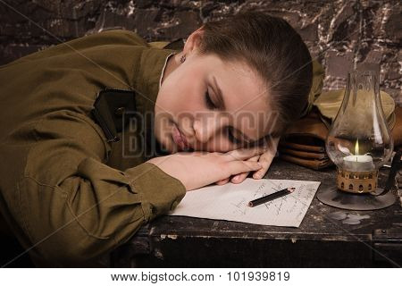 Soviet Female Soldier In Uniform Of Wwii Sleeping In The Dugout
