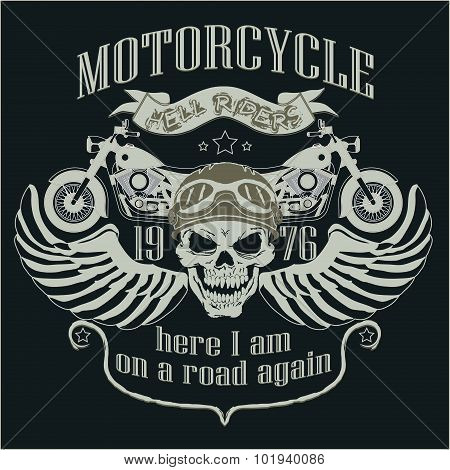 Motorcycle Design Template Logo. Skull rider - vector illustrati