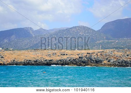The Shores Of The Aegean Sea And Mountains.