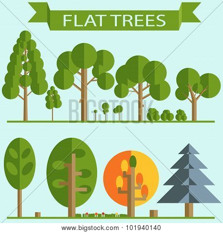 Set of Green Trees Flat Design