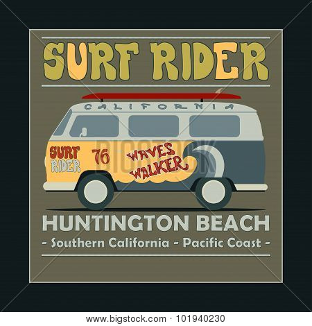 Surfing t-shirt graphic design. Vintage Retro Surf BUS. Huntingt