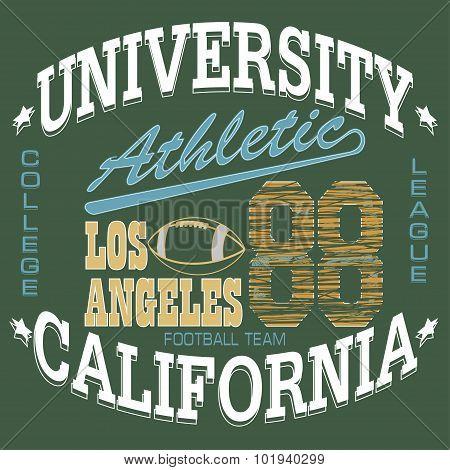 Football T-shirt graphics, California, sportswear appare - vecto
