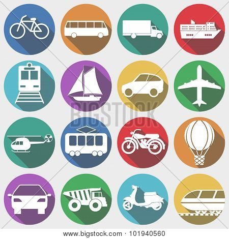 Vehicles with Long Shadow, Transport. Vector illustration