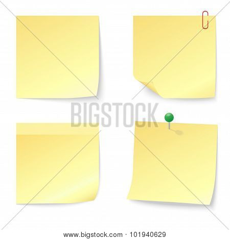 Set of Blank Yellow Sticky Notes with Push Pin and Paperclip