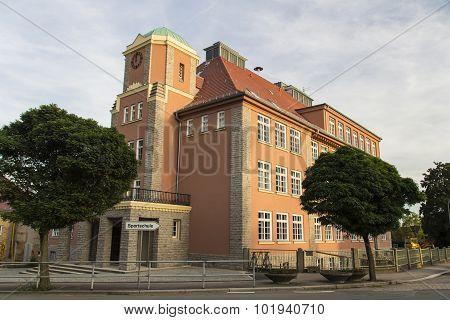 Guidepost To The Sportschule With The Diesterwegschule In Werdau, Germany, 2015