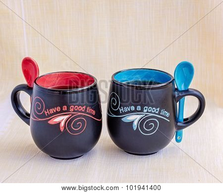 His And Her Mugs Of Tea