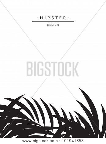 Exotic background with gray palm leave for design. Hipster style