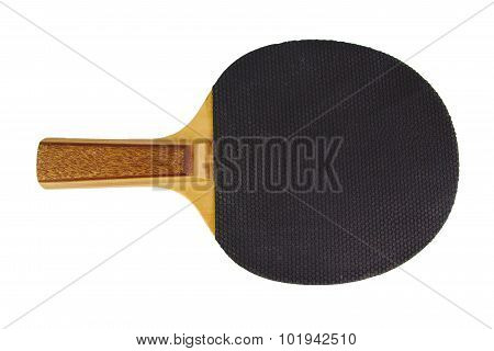 Single black ping-pong racket and ball isolated on a white background