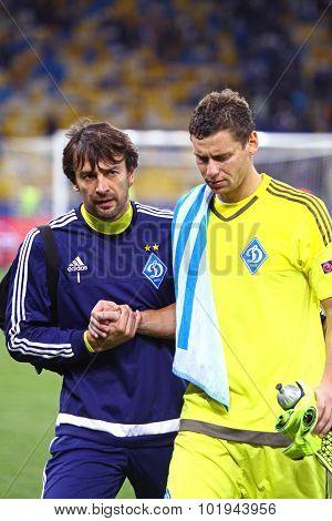 Fc Dynamo Kyiv Goalkeepers Olexandr Shovkovskiy And Olexandr Rybka