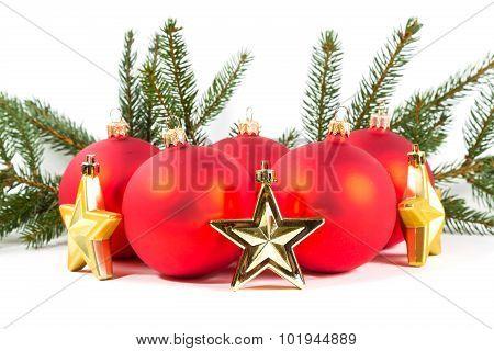 Red Christmas Balls And Fir Branch