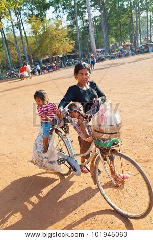 Local People In Angkor Wat, Cambodia