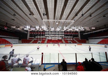 "Hockey Match ""spartak""-""severstal"" On Ice Field In Sports Palace ""sokolniki"""