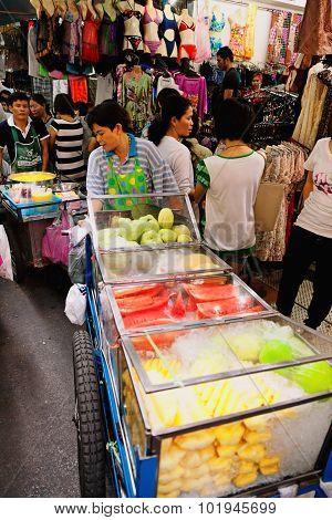 Busy Market Street In Bangkok, Thailand