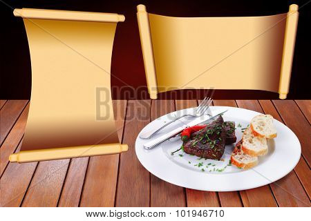 fresh hot grilled beef meat steak served with red hot pepper and white bun slices on plate over wooden table