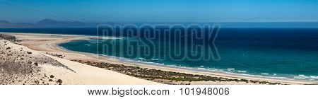 Panorama sea beach landscape of the island of Fuerteventura, Canary Islands