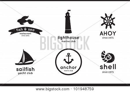 Set of sea, fish, shell, sailfish, anchor and lighthouse logo, labels and badges