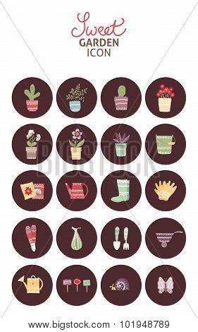 Sweet garden. Set of garden vector icon and design elements