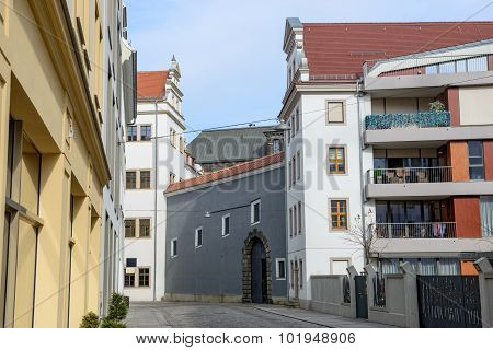 Skyline Of Buildings On Kanzleigasschen Street In Dresden, Saxony, Germany.